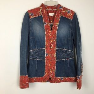 H&M Boho Red Floral Prairie Fitted Denim Jacket. 6